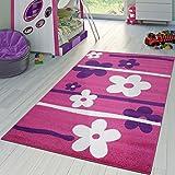 T&T Design Kinderzimmer Teppich In Pink Lila Creme Blumen Muster Kurzflor, Größe:120x170 cm