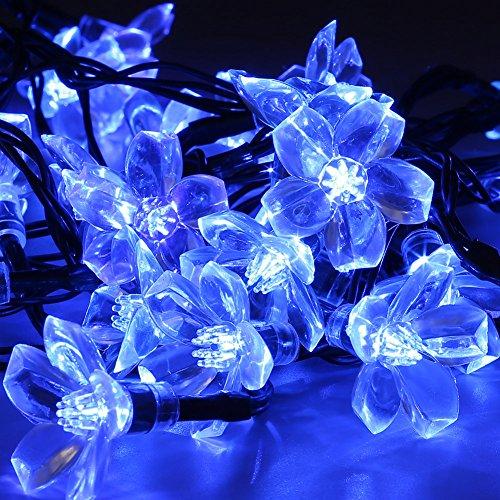 DECKEY 100er LED Solar Lichterkette 17M Blüten Garten Außen Blau Solar Beleuchtung für Party Weihnachten Outdoor Fest Deko (100 LEDs, Blau)
