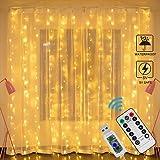 Guirlande Lumineuse Rideau, Zorara Rideau Lumineux USB 300 LED 3m*3m 8 Modes d'Eclairage, Decoration de Fenêtre, Noël, Mariag