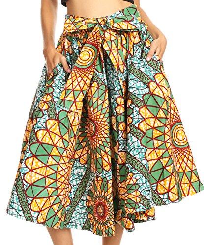 Sakkas 16321 - celine africano olandese ankara cera stampa gonna a tutto cerchio - 535-teal / orange - os
