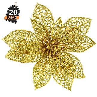 Kompanion Set de 20 Estrellas Doradas – Adorno de Decorado para Árbol de Navidad – Accesorio de Decoración Navideña – Ornamento para Temporada Festiva – Flor de Pascua en Forma de Estrella de Oro