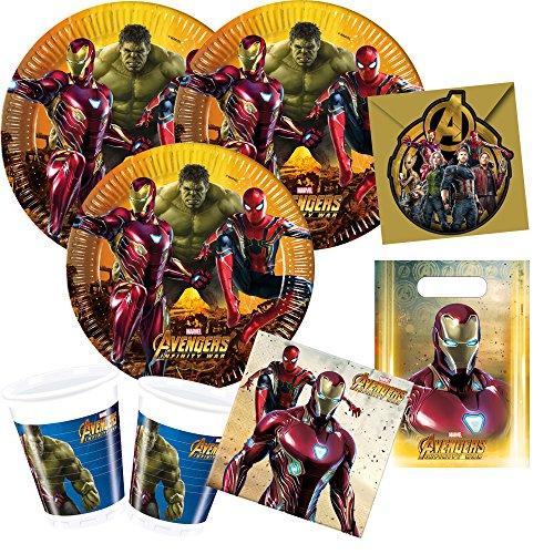 Procos 48-teiliges Party-Set Avengers Infinity War - Teller Becher Servietten Einladungen Partytüten für 6 - 8 Kinder