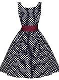 Miusol Damen Elegant Rundhals Traegerkleid 1950er Retro Polka Dots Cocktailkleid Faltenrock Kleid Blau Groesse L