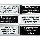 Magnete 6-er Set mit Sprüchen L 12,5 cm MDF schwarz/weiß Dekomagnete Dekoschilder