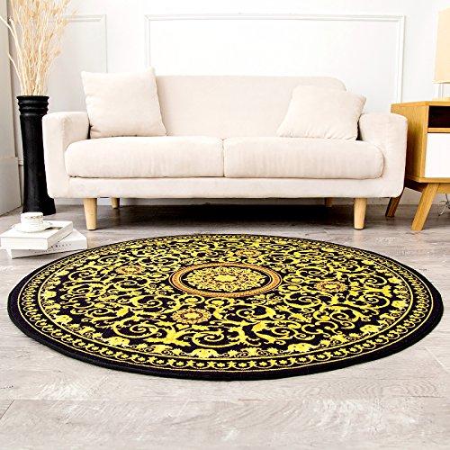 GRENSS Alfombra redonda clásica geométrica Salón Escritorio Dormitorio Mat Tabla Manta Anti Skid hogar alfombras,impermeable amarillo,100cm100cm