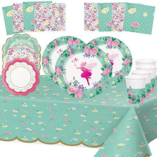 Unbekannt Fee Feen Elfen Geburtstag 8 Kinder Mädchen Dekoration Gerichte 1 Tischdecken 8 Fee Pappteller 4 Blumenteller 8 Pappbecher 16 Servietten