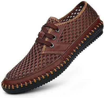 Uomini in Pelle Lacci Piatti Casual Sandali Traspiranti Antiscivolo Hollow Beach Shoes Estate Scarpe Impermeabili per Il Bagno di Sole a Piedi