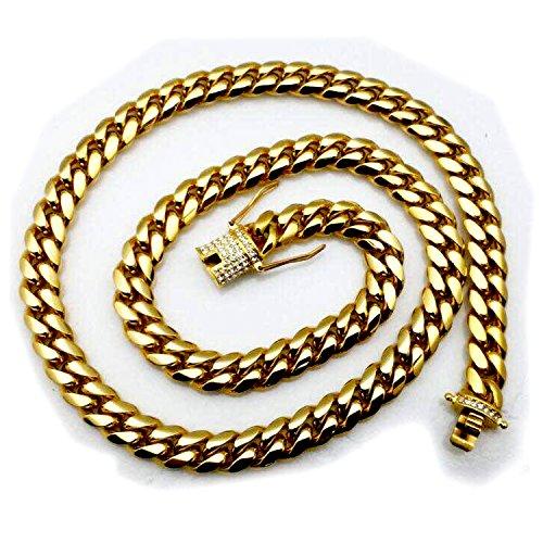 Dick Miami Cuban Link Kette 14mm solide 18K Gold schwere Iced Diamantschliff Verschluss Anhänger Halskette Hip Hop