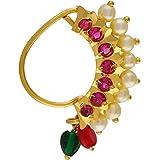 VAMA Fashions Maharashtrian jewellery traditional nath nose ring Without Piercing Marathi Nose Pin For Women (maharashtrian n