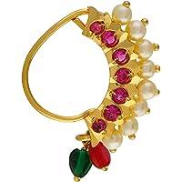 VAMA Fashions Maharashtrian jewellery traditional nath nose ring Without Piercing Marathi Nose Pin For Women…