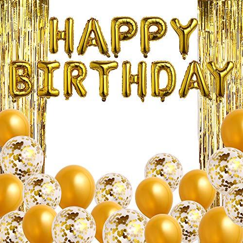 Obeda 23 STK. Happy Birthday Geburtstagsdeko - Folienballons Girlande mit Einer Ballonpumpe, Gold Luftballon, konfetti Luftballons und Lametta vorhänge. Elegante Party Supplies für Frauen und Männer
