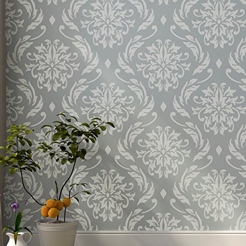 lily-blooms-wall-stencil-by-stencilit-expedited-3-days-delivery-damask-wall-accent-reusable-template