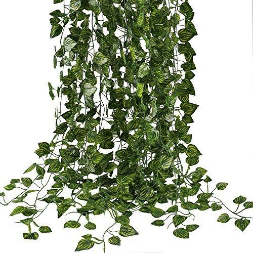 Fake Vines, hogado 79FT Künstliche Hängepflanzen Seide Golden Devil 's Ivy Blättern für Reptilien Wand Wohnzimmer Outdoor Party Festival Decor 12Stück