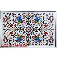 """60""""x 36"""" rectangular incrustaciones de mármol blanco mesa de conferencia Top Multi Color flor Arte"""