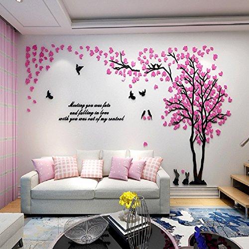 Alicemall 3d adesivi murali wall sticker con forma albero adesivo da parete in acrilico foresta con foglie rosa
