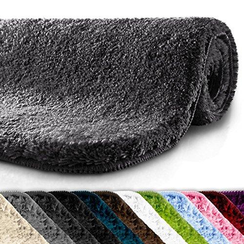 casa pura Badematte | kuscheliger Hochflor | rutschfester Badvorleger | viele Größen | zum Set kombinierbar | Öko-Tex 100 zertifiziert | 70x120 cm | Stormy Grey (anthrazit)