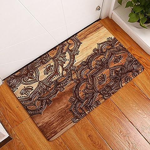 YJ Bear Beautiful Bohemian Flower Print Indoor Outdoor Area Rug Non Slip Floor Mat Coral Fleece Home Decor Carpet Rectangle Doormat Kitchen Floor Runner Brown 16