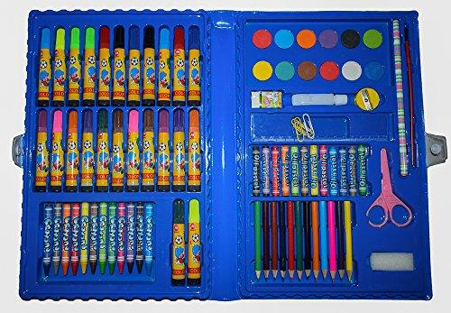 MALSET BLAU 86 Teile mit Kinder - Jungen / Mädchen für malen mit Filzstifte + Buntstifte +...