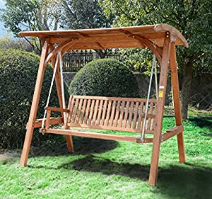 Outsunny 3 Seater Larch Wood Wooden Garden Swing Chair