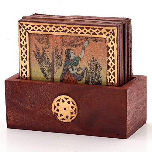 Pocket Friendly New Year Handicraft Gift Gemstone Painting Pure Brass Tea Coasters Gift 112