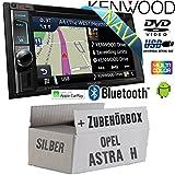Opel Astra H Silber - Autoradio Radio Kenwood DNX4180BTS - 2-DIN NAVI | Bluetooth | CD/DVD | Apple CarPlay | Einbauzubehör - Einbauset