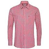 Almsach Trachtenhemd Veith Regular Fit in Rot inklusive gratis Volksfestfinder, Größe:XXL, Farbe:Rot