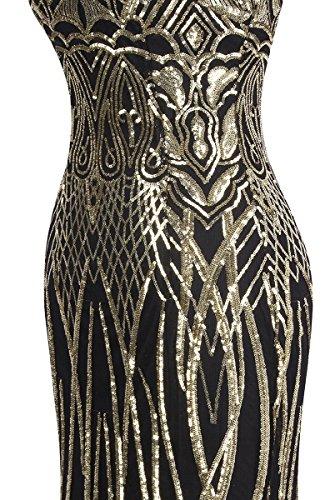 Angel-fashions Damen Ohne Arm Pailletten Baum Ast Net Meerjungfrau-Kleid-Kleid (XL, Schwarzes Gold) - 5