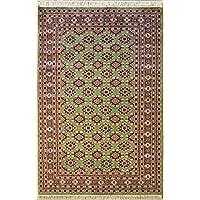 RugsTC 155 x 251 Tapis Bokhara Jaldar avec Pile de Soie et Laine - Design Geometric | 100% Noué à la Main Authentique en Vert, Brun rougeâtre, Couleurs Gris | catégorie 152 x 244
