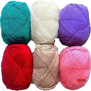 Vardhman Bunny Mix 3 Wool Ball Hand Knitting Wool/Art Craft Soft Fingering Crochet Hook Yarn, Needle Acrylic Knitting Yarn Thread Dyed 6 pc Pack