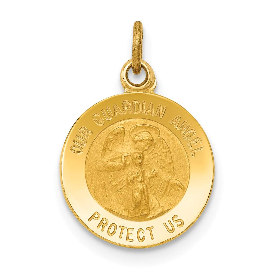 992078070e7 14k Yellow Gold Guardian Angel Medal Pendant Charm Necklace Religious Fine  Jewellery Gifts For Women For Her