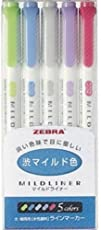 Zebra NC5 Highlighter Mildliner, 5 Color Set (WKT7-5C-NC)