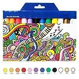 TOPmore 12/24 couleurs Ensemble de Peinture acrylique Marqueurs - parfait pour toile de peinture, d'argile, tissu, Art d'ongle et céramique - Idéal pour les débutants, les étudiants et artiste professionnel (12Couleurs)