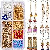 SUNNYCLUE 1 Caja DIY 6 Pares Pendientes Tradicionales Indios de la India Indian Jhumka Jhumki Cuelga Pendientes Jewellry Kit para Adultos Mujeres Niñas