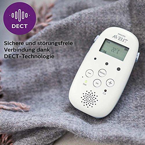 Philips Avent Audio-Babyphone, DECT-Technologie, Eco-Mode, 18 Std. Laufzeit, Gegensprechfunktion, Schlaflieder SCD713/26 4