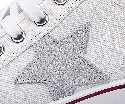 Wealsex Baskets Mode Chaussure De Sport Sneakers Chaussures En Toile Chaussure Basse Noir Blanc étoile à cinq branches Femme Blanc