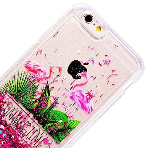 GrandEver iPhone 6/iPhone 6S(4.7 Zoll) Weiche Hülle Glitzer Bumper Bling Liquid Fließen Flüssigkeit Hartschale Schutzhülle Hart PC Rückschale mit Muster Vintage Backcover Ultra Slim Silikon Rahmen Rüc Flamingos Rot Star
