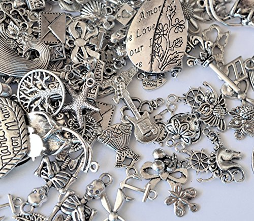**NEW SILVER MIX**55-60g (30-50pcs)Mixed Pendants Charms-Antique Silver Colour By AC Crafts