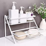 2 Tier Spice Rack - Kitchen Storage Shelf Organizer for Cabinet and Pantry, Holder for Seasoning Jars, Bottles