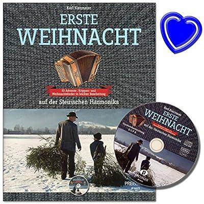 Erste Weihnacht auf der Steirischen Harmonika - 52 Advents- und Weihnachtslieder in leichter Bearbeitung mit CD und herzförmiger Notenklammer