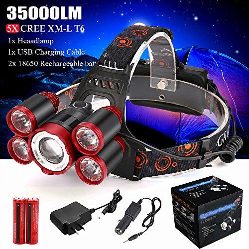 BBestseller Linterna Frontal LED,Alta Potencia 35000 Lúmenes 5X XML T6 Model Headlamp Iluminación de exterior Camping Montañismo Linternas (Rojo 1)