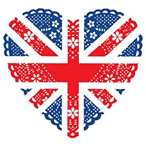 Jubilee Union Jack bunting window STICKERS (static cling) - individual heart shaped pennants to create your own display (PACK OF 10 PENNANTS)