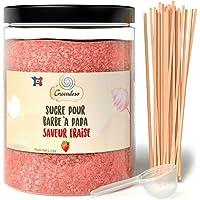Greendoso-Sucre Barbe à Papa Fraise 1,2 Kg, Poudre Barbapapa pour Machine + 50 Bâtonnets de 30Cm (Offerts) + 1 Cuillère…