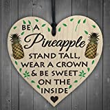 Red Ocean Be A Pineapple Novelty Wooden Hanging Heart Plaque Sign Funny Friendship Gift