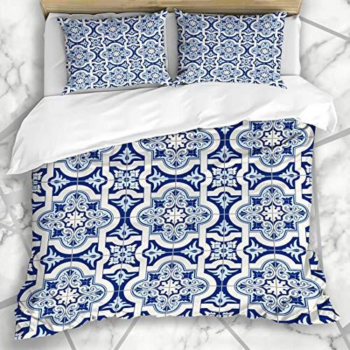 Soefipok Bettbezug-Sets Patchwork-Muster Wunderschöne weiße Blaue marokkanische portugiesische Azulejo Vintage Arabesque spanische Wand Mikrofaser Bettwäsche mit 2 Pillow Shams -
