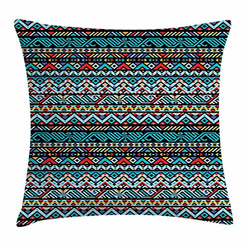 Preisvergleich Produktbild DIYCCY Native American Überwurf Kissenbezug, Colorful Ethnic Geometrische mexikanische Pixel Art Muster Indigene Native Style Dekor quadratisch Accent Kissen Fall 45,7x 45,7cm