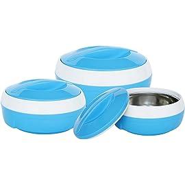 Princeware Solar Plastic Casserole Set, 3 Pieces, Blue