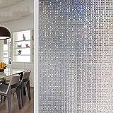 Mosaik Fensterfolien,Leimfrei fenster aufkleber,Statische dekorfolie Sonnenschutz Wärmedämmung Dekoration Arbeit Badezimmer Undurchsichtig deckkraft Leimfrei fenster aufkleber-A 60x300cm(24x118inch)