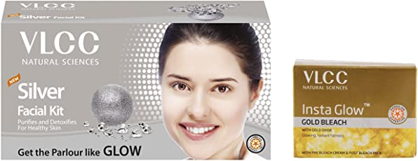 VLCC Silver Facial Kit and Insta Glow Bleach Combo