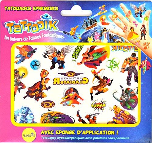 TATTOOIK Super héros Tatouage ephemere temporaire hypoallergénique Fabriqué en FRANCE 1 planche 20 tattoos environ + 1 éponge cosmétique Enfant Fille et Garçon