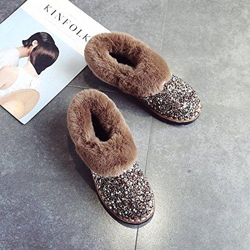 b694f9115d4 ... Hsxz Femmes Chaussures Nubuck Pu Daim Cuir Automne Hiver Confort Bottes  De Neige Talon Plat Bottes